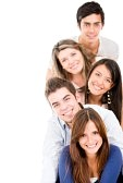 14008202-happy-group-of-young-people-in-a-row-isolated-over-white